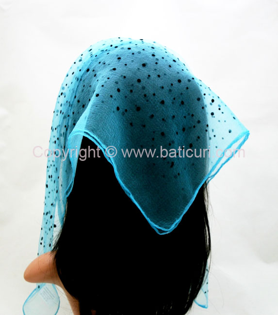 #11-17 NEW Sq Mixed Polka Dots Nylon Scarves -Aqua/black