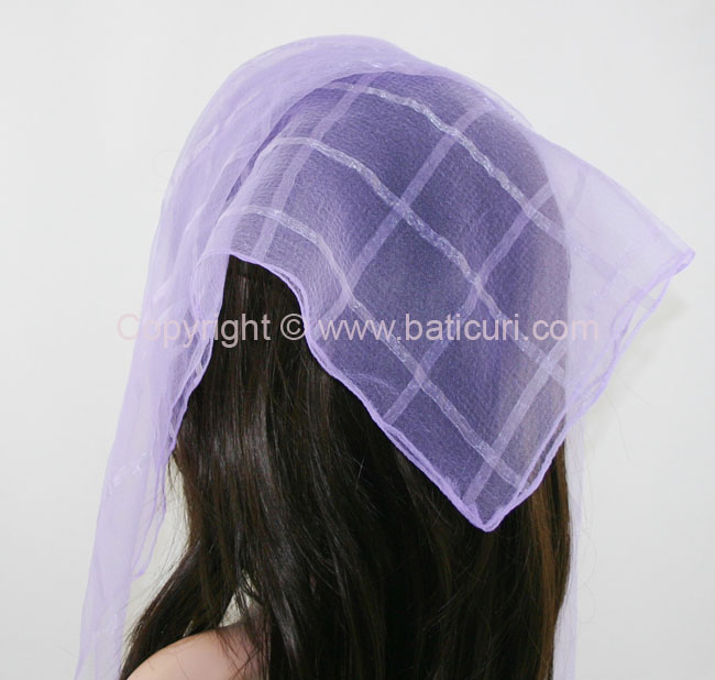 02(N) Square Solid-Narrow silk stripes- Light purple
