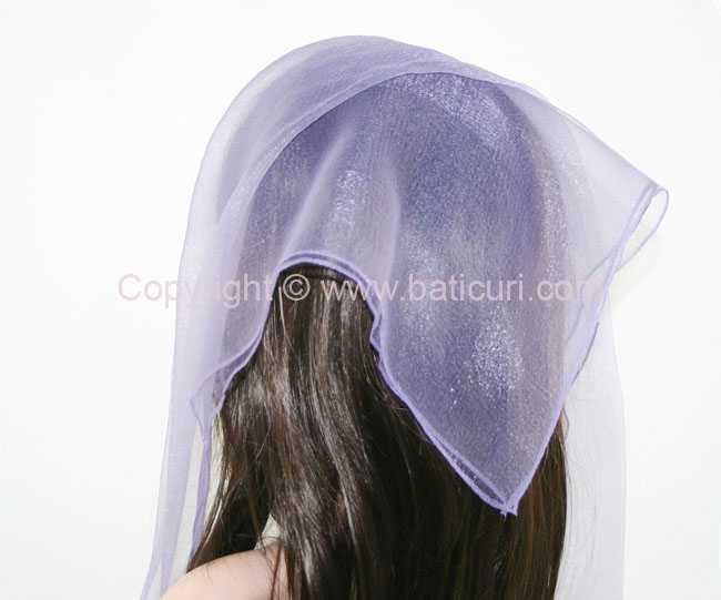 #02(W) SQ Solid with wide silk stripes- Dusty purple