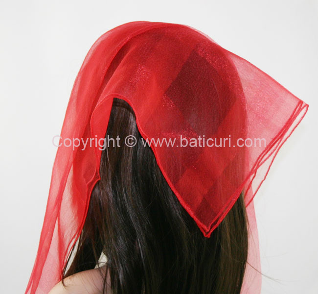 #02(W) SQ Solid with wide silk stripes- Red