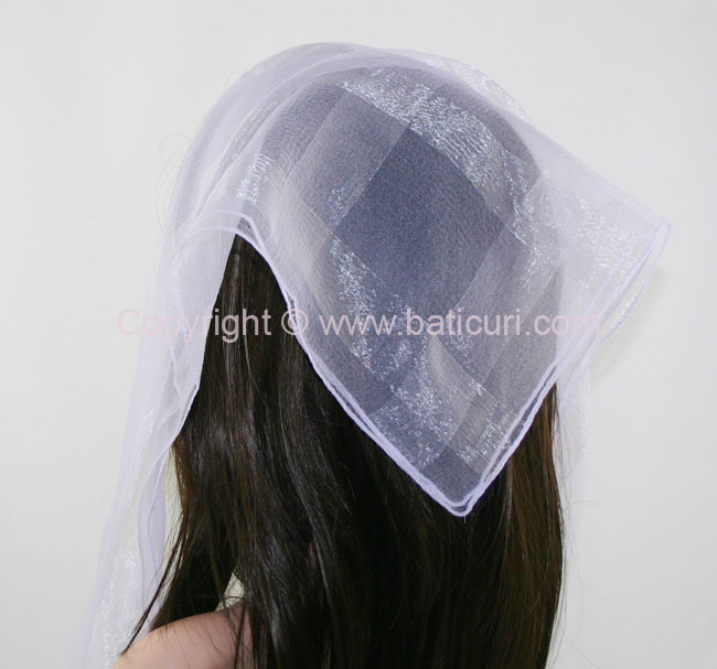 #02(W) SQ Solid with wide silk stripes- Light purple
