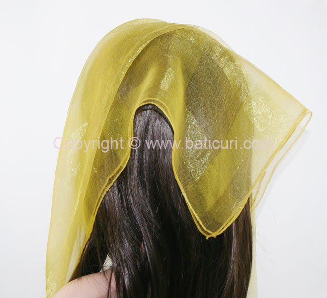 #02(W) SQ Solid with wide silk stripes- Mustard