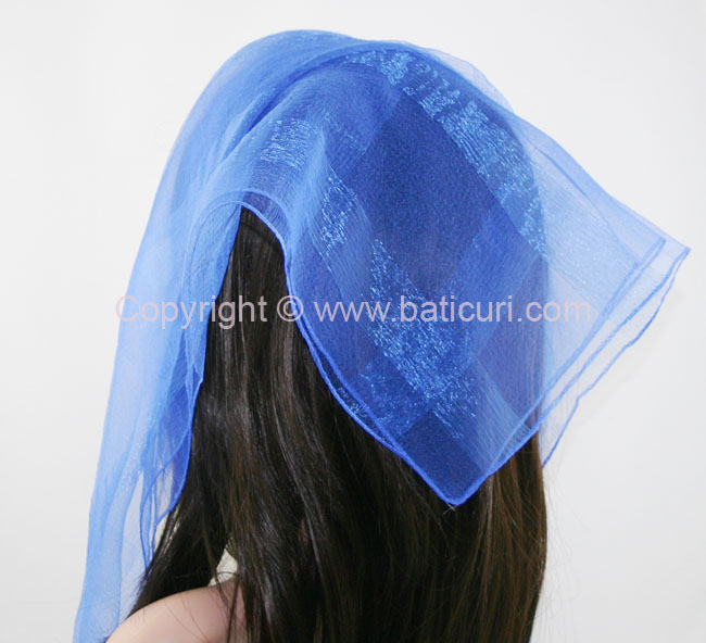 #02(W)-04 SQ Solid with wide silk stripes-Royal blue