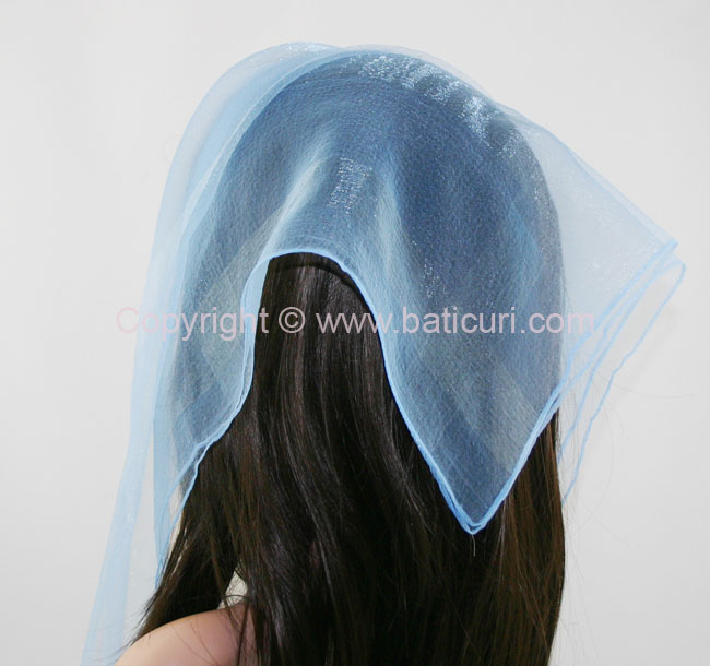 #02(W)-03 SQ Solid with wide silk stripes-Light blue