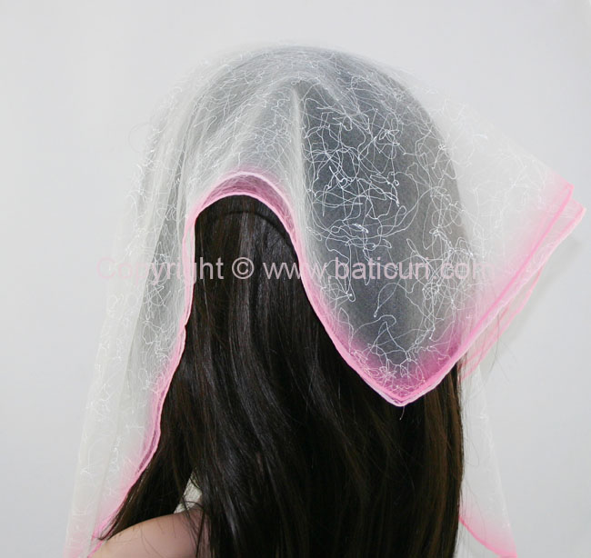 #07(Tt) SQ Two tone spider web-Light pink