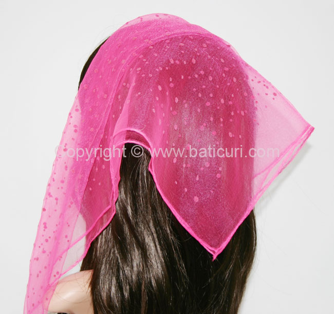 #11 SQ Nylon Mixed Polka Dots Scarves- Hot Pink/pink