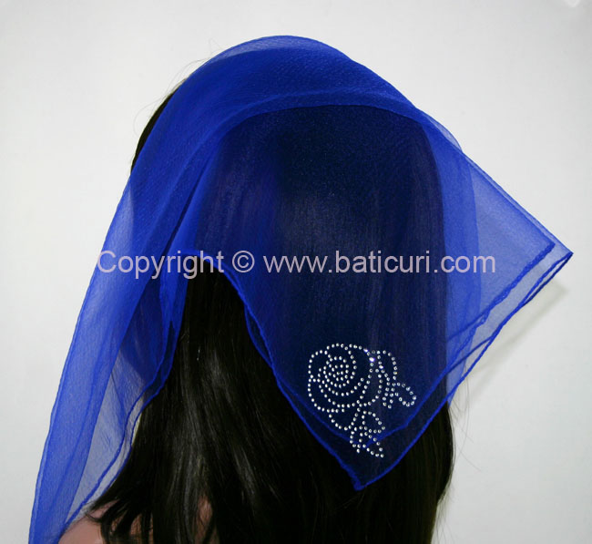 SQ Solid Rhinestone Corner Rose-Royal blue
