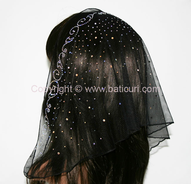 58-01 Triangular Lace with Lg. Spiral&Waterfall Rhinestones-Black