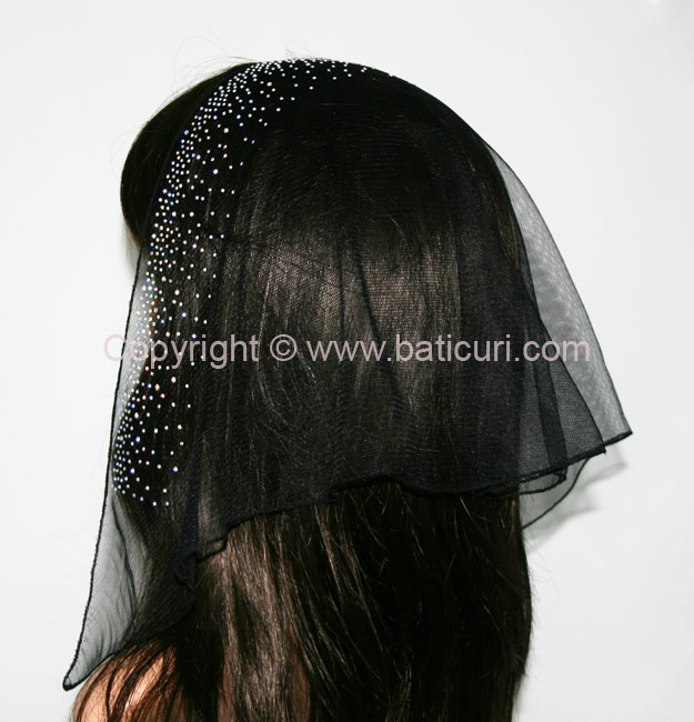 58-02 Triangular Lace with front waterfall border Rhinestones-Black