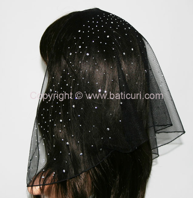 58-04 Triangular Lace with waterfall Rhinestones-Black