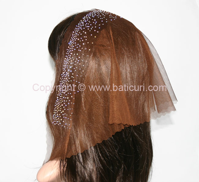 58-10 Triangular Lace withzig-zag edge & front waterfall border Rhinestones-Brown/AB