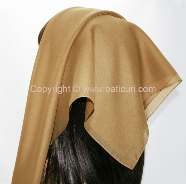 116-05 Large SQ Solid Polyester Italian Scarves -Beige