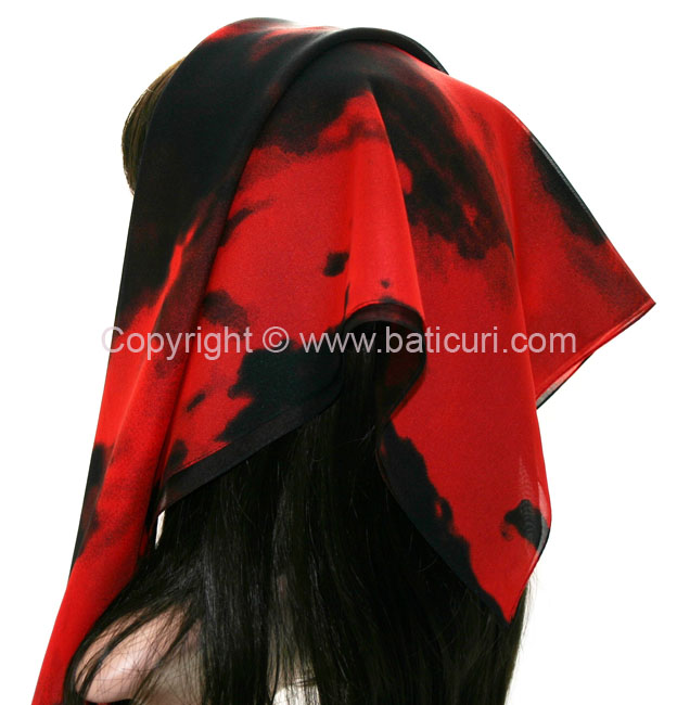 117-02 Large Polyester OmbreItalian Scarves -Black/red