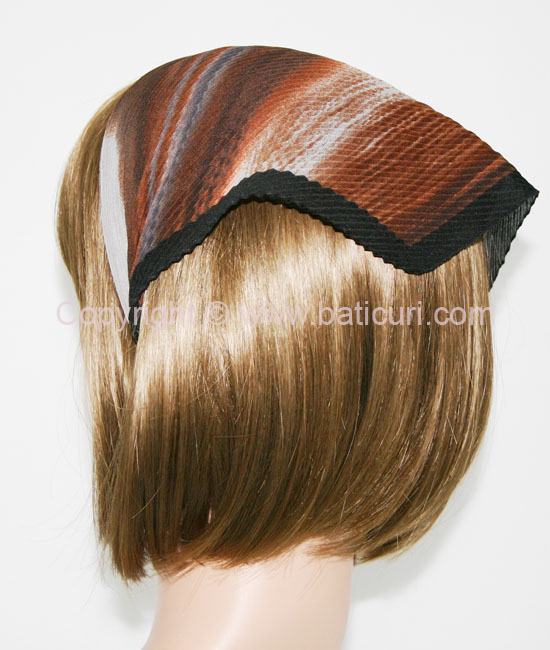 115-88 Italian Pleated Striped Ombre & border- Brown/grey