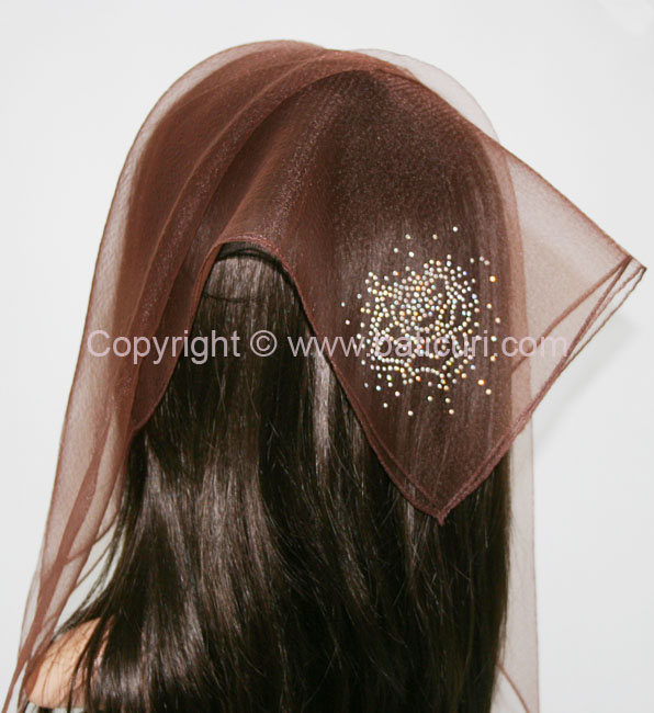 SQ Solid Rhinestone Blooming Rose-Brown