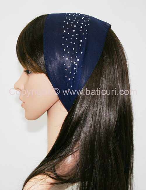 Small Oblong Polyester Scarves with Waterfall Rhinestones-Navy/white