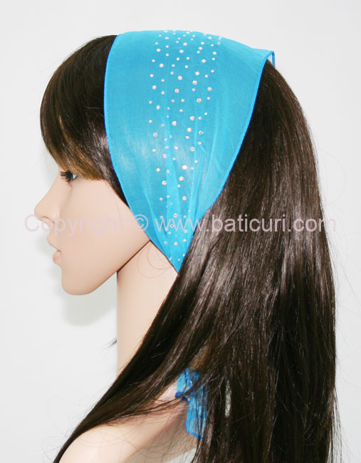 Small Oblong Polyester Scarves w/Dense Border Rhinestones-Aqua blue