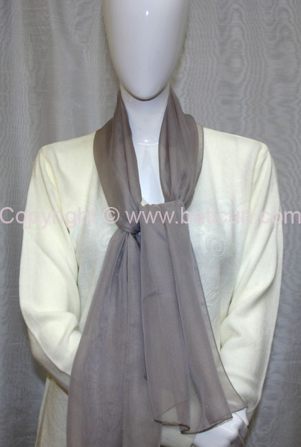 80-11 Sheer Oblong Wide Solid Scarves-Kaki
