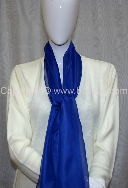 80-03 Sheer Oblong Wide Solid Scarves-Royal Blue