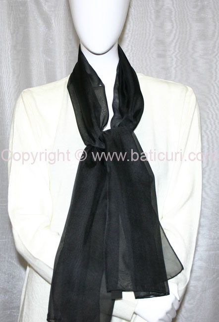 80-02 Sheer Oblong Wide Solid Scarves-Black