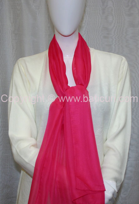 80-06 Sheer Oblong Wide Solid Scarves-Hot Pink