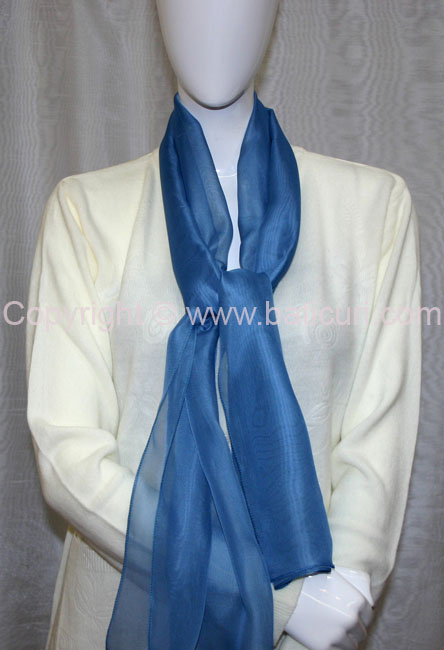 80-12 Sheer Oblong Wide Solid Scarves-Dusty blue