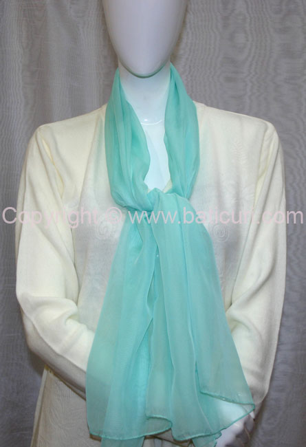 80-08 Sheer Oblong Wide Solid Scarves-Mint