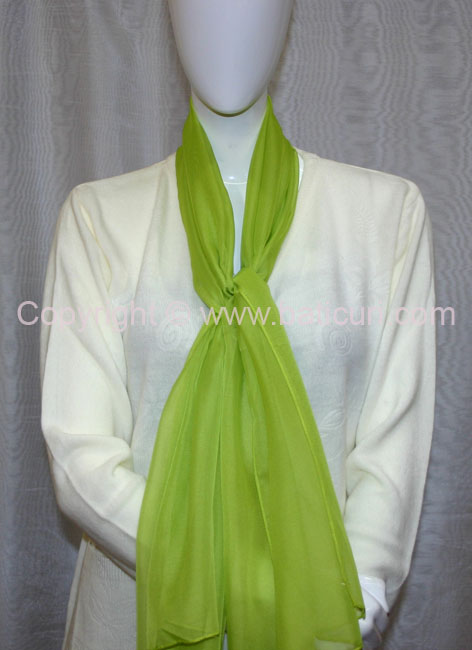 80-09 Sheer Oblong Wide Solid Scarves-Bright green
