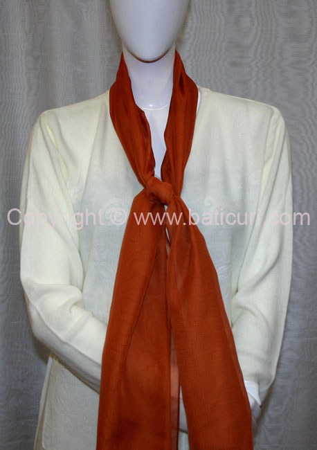 80-10 Sheer Oblong Wide Solid Scarves-Brick