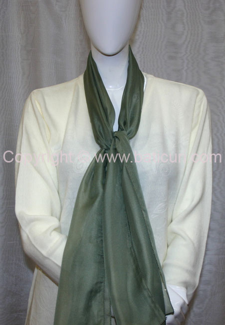 80-14 Sheer Oblong Wide Solid Scarves-Green