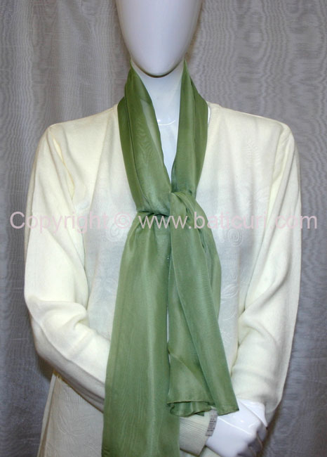 80-13 Sheer Oblong Wide Solid Scarves-Lt. green