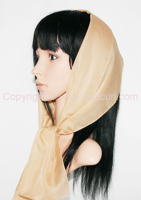 Oblong Medium Silky Feel Italian Oblong Scarves-Beige