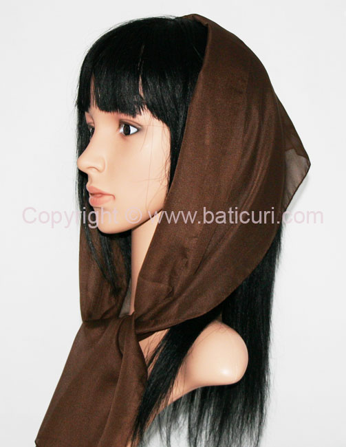 Oblong Medium Silky Feel Italian Oblong Scarves-Brown