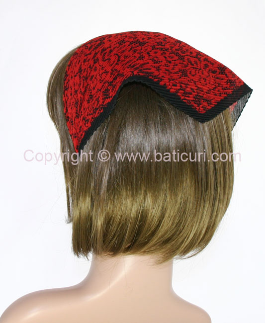 102-15 Italian Pleated with all over lace design-Red/Black