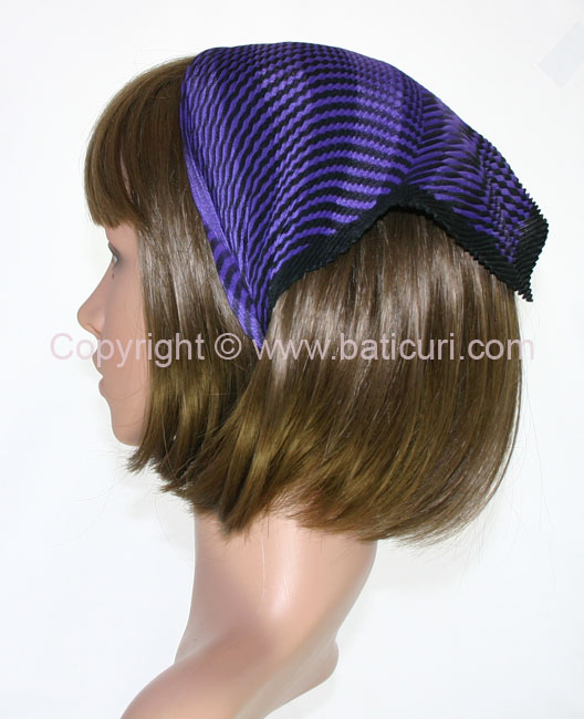 103-23 Italian pleated with satin & salt/pepper design- Dk. purple/Black