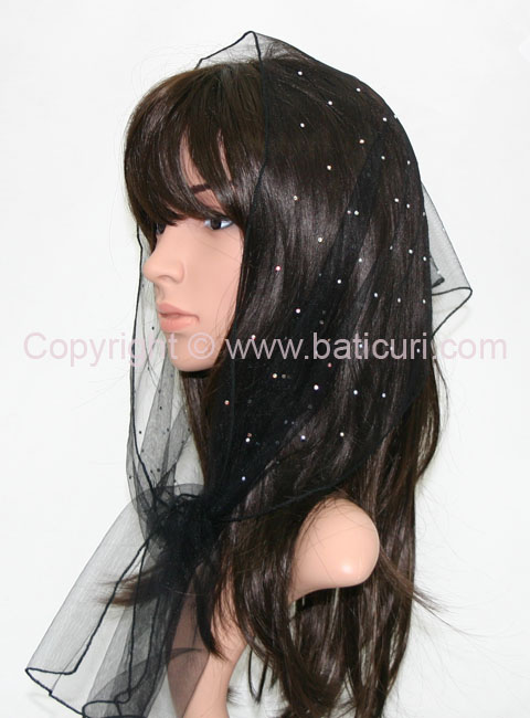 L2-OB Lace Scattered Rhinestones-Black