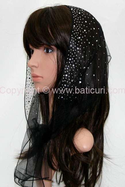 L6-OB Lace Waterfall Rhinestones-Black