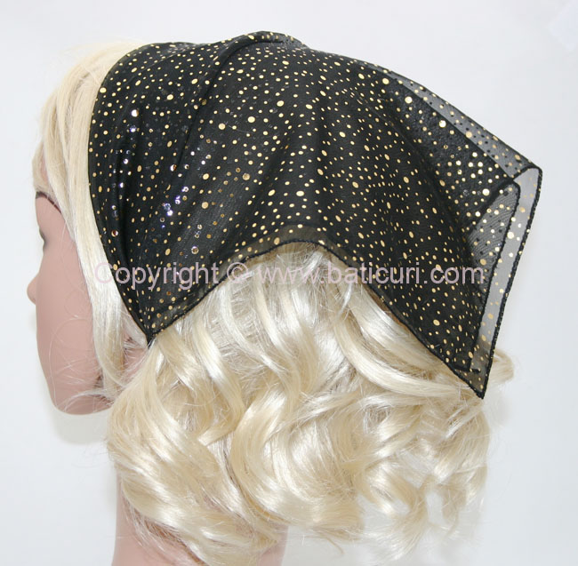 136-47G Reversible Black with scattered gold/silver dots