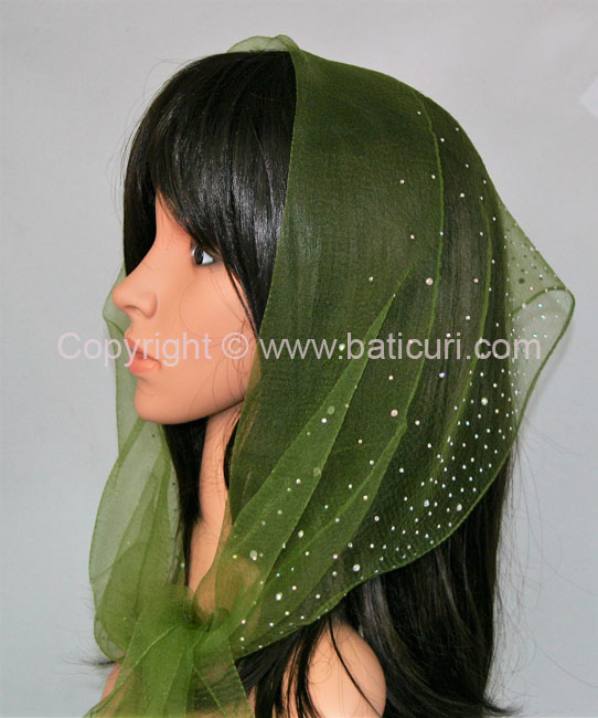 OB Nylon (W) Solid Waterfall Rhinestones- Olive Green