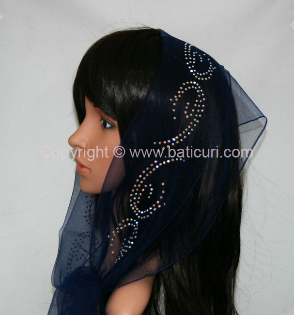 """New! OB Nylon (W) Solid Large Snail Border Rhinestones-Navy Blue"