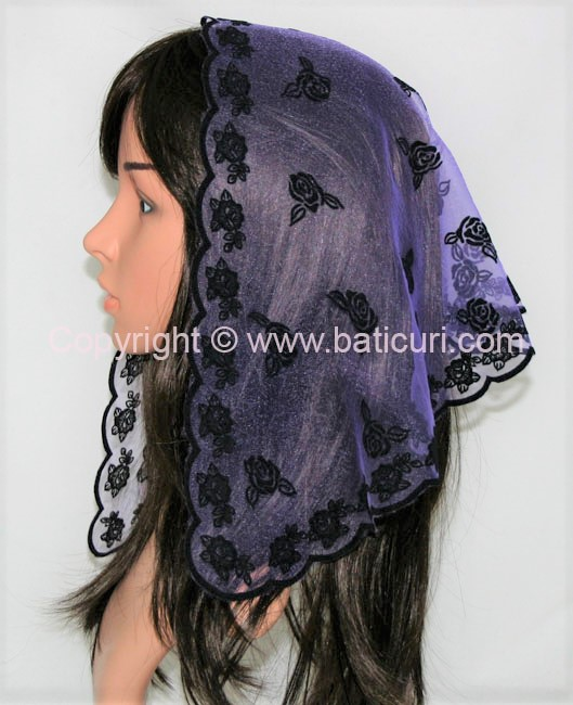 #54 Tri. scattered roses-Dark purple with black