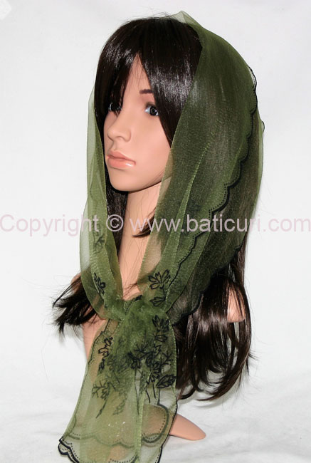 #27-05 OB Zig zag-Corner bouquet~Olive green/black