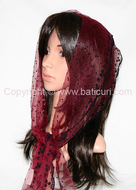 #24-03 OB Zig zag- Sm. dots & dotted border~ Burgundy/black