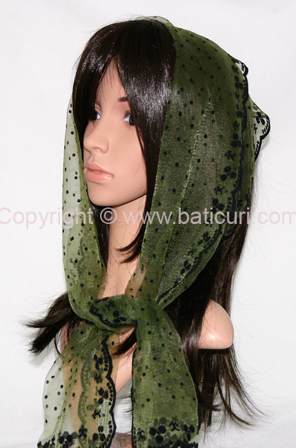 #24-04 OB Zig zag- Small dots & dotted border~ Olive green/black