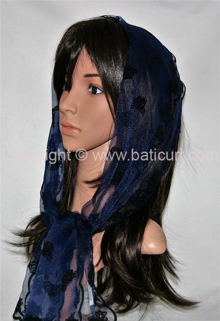 #26-03 OB Zig zag-Scattered rose~Navy blue/black
