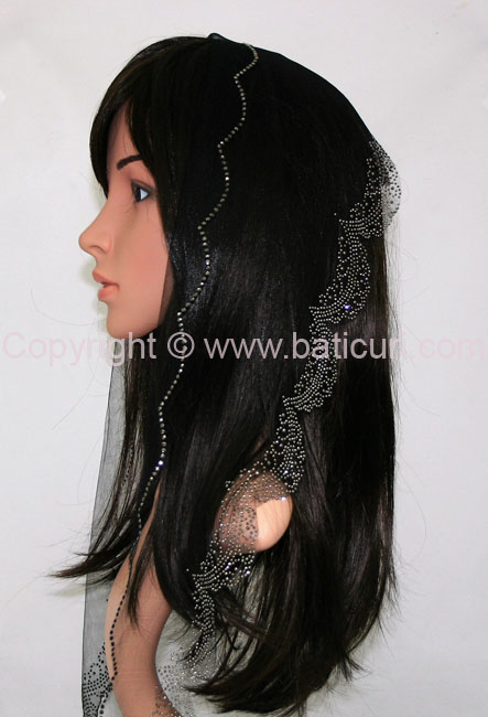 L5-OB Lace Embroidery Rhinestones Border-Black/gray