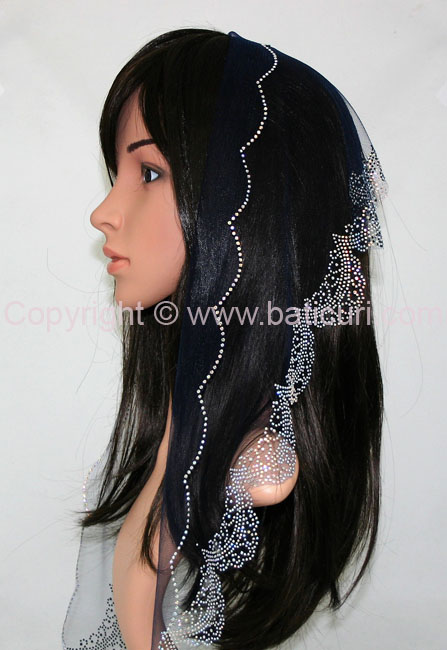 L5-OB Lace Embroidery Rhinestones Border-Navy blue
