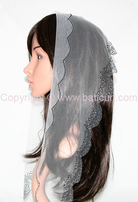 L4-OB Lace Solid Straight Rhinestones All-over Border-Gray