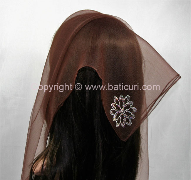 SQ Solid Rhinestone Dahlia-Brown