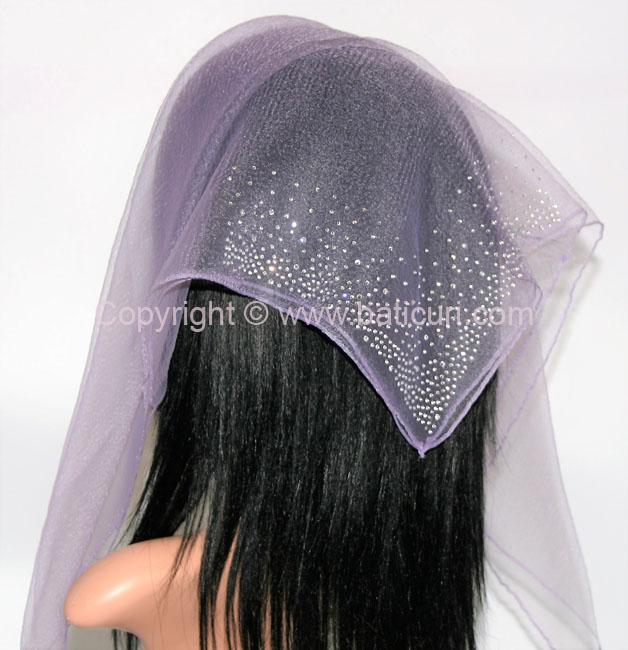 SQ Solid Rhinestone Waterfall Corner- Ash Purple